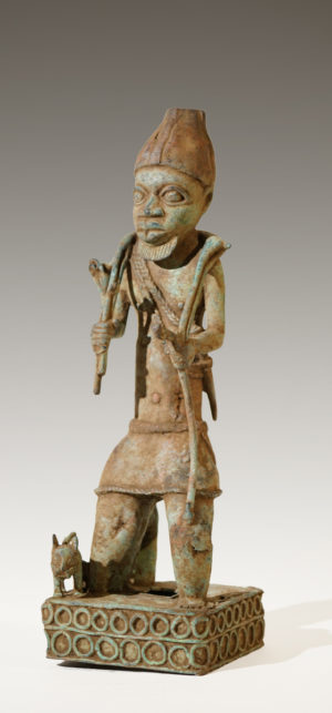 A Benin Bronze of a hunter